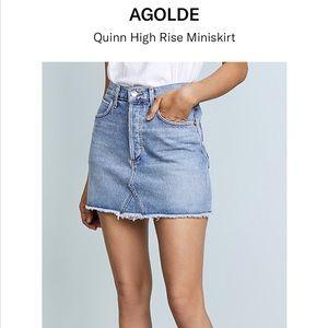 NWT AGOLDE Quinn High Rise Mini Skirt, Devotee, 25